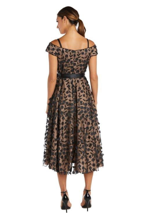 Tea Length Off the Shoulder Floral Dress - Back