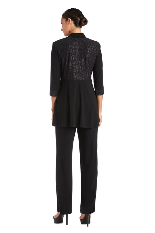 2-Piece Pant Set with Lace Printed Jacket Detail - Back