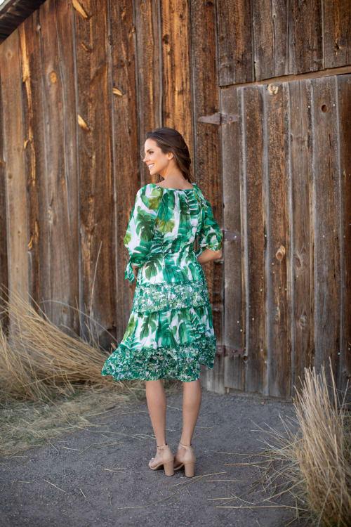Alexa  Jade Fern Mixed Print Peasant Dress - Back