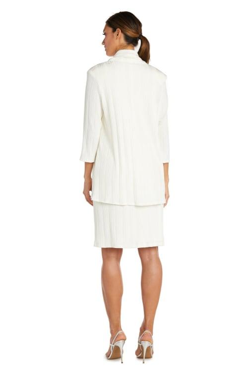 Two-Piece Cardigan Soft Turtle Neck Jacket Dress - Back