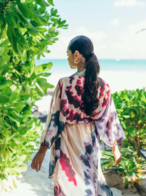 SukiSo Women's Pink Goddess Kimono In Tie-Dye - Back