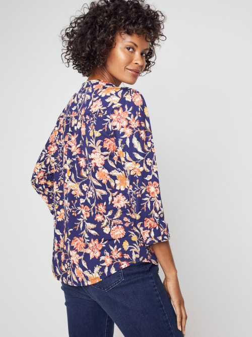 Roz & Ali Rust Floral Pintuck Popover - Back