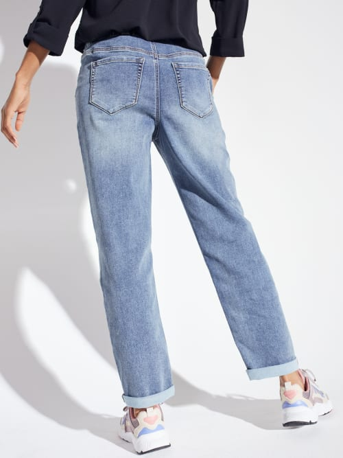 Knit Denim Weekender Sweatpant with Pockets and Drawstring Waist - Back