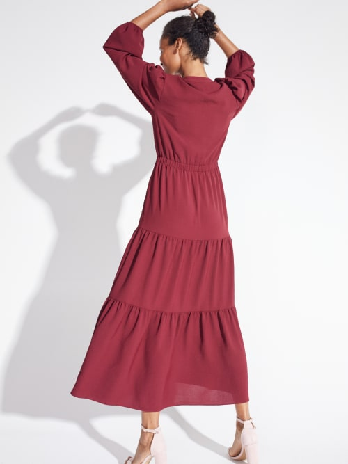 Kim Wine Button Placket Dress - Back
