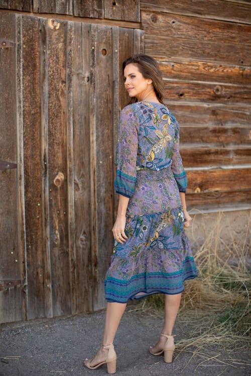 Bella Grey/Blue Two Piece Skirt Set - Back