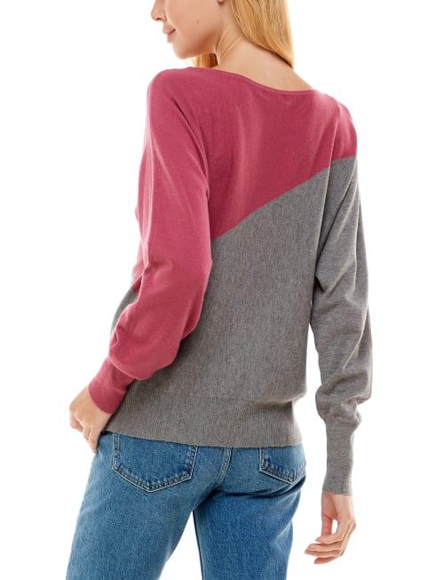 Madison & Hudson Dolman Color Block Pullover Sweater - Back