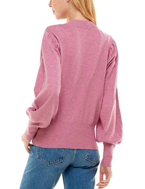 Madison & Hudson Puff Sleeve Ottoman Pullover Sweater - Back