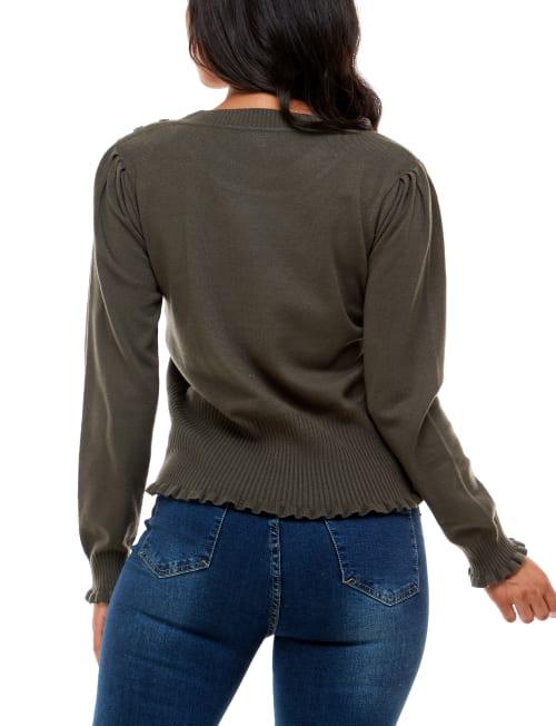 Madison & Hudson Ruffle Detail Puff Sleeve Sweater - Back