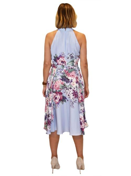 Hi Neck Floral Dress - Back