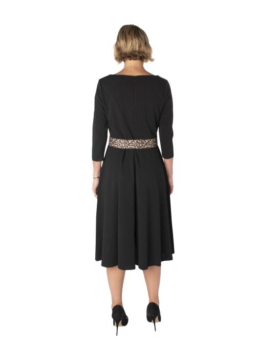 Cowl Neck Dress with Cheetah Belt Dress - Back