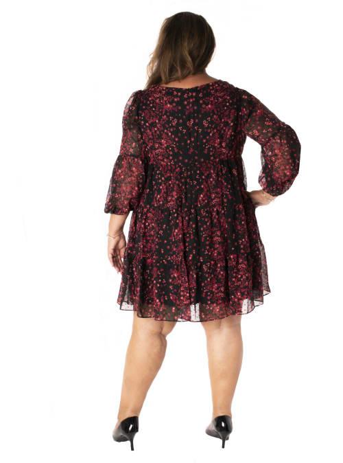 Printed Floral Clipdot Chiffon Babydoll Dress - Plus - Back