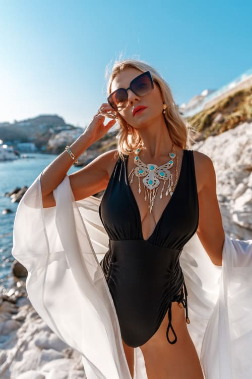 Sukiso Women's Dorado Turquoise Necklace Chain - Back