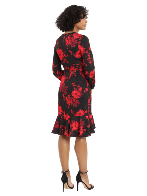 London Times Holiday Floral Side Tie Ruffle Dress - Back
