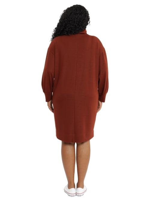 Celia Extended Shoulder Turtle Neck Dress - Plus - Back