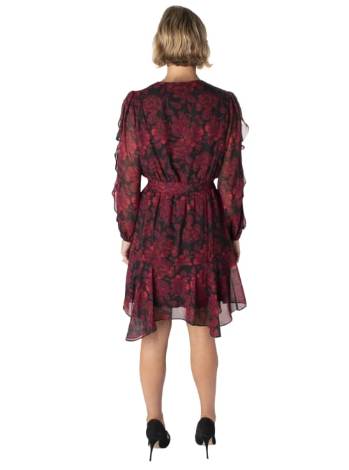 Printed Floral V-Neck Chiffon Dress - Back