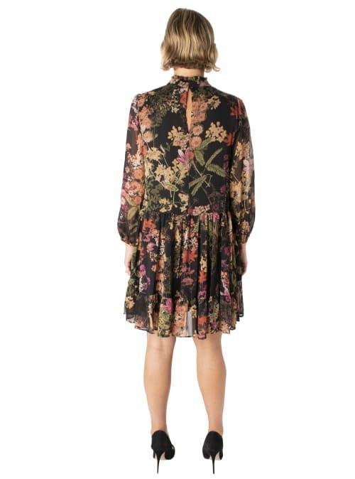 Printed Floral Mock Neck Chiffon Dress - Back