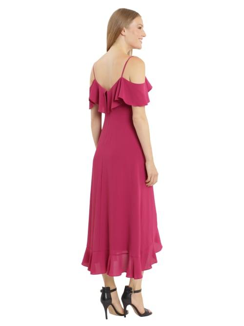 Ruffle Cold Shoulder Maxi Dress - Back