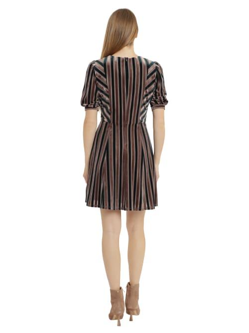 Velvet Jewel Neck Dress - Back