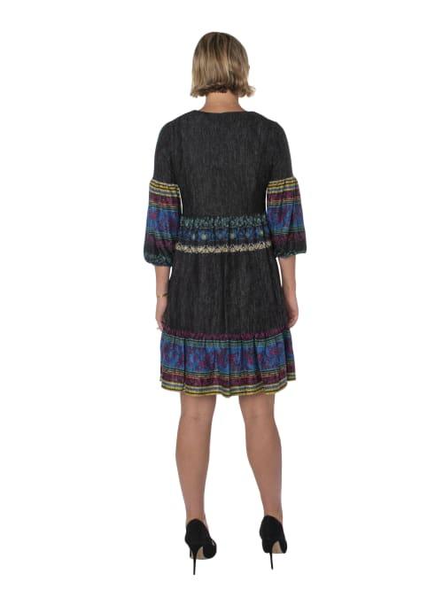 3/4 Sleeve Printed Peasant Dress - Back