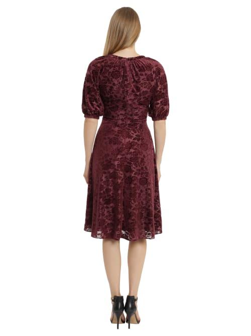 Velvet Burnout Puff Sleeve Midi Dress - Back