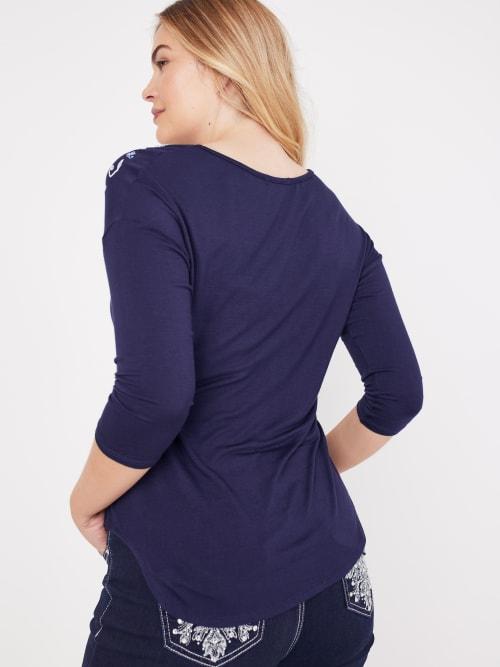 Westport V-Neck Puff Print Knit Top - Back