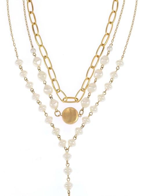 Carol Dauplaise Triple Pearl Drop Pendant - Back