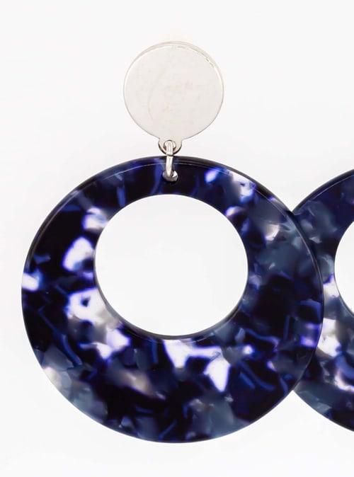 Carol Dauplaise Blue Lucite Earring - Back