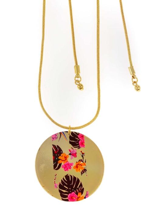 Carol Dauplaise Printed Flower Pendant - Back