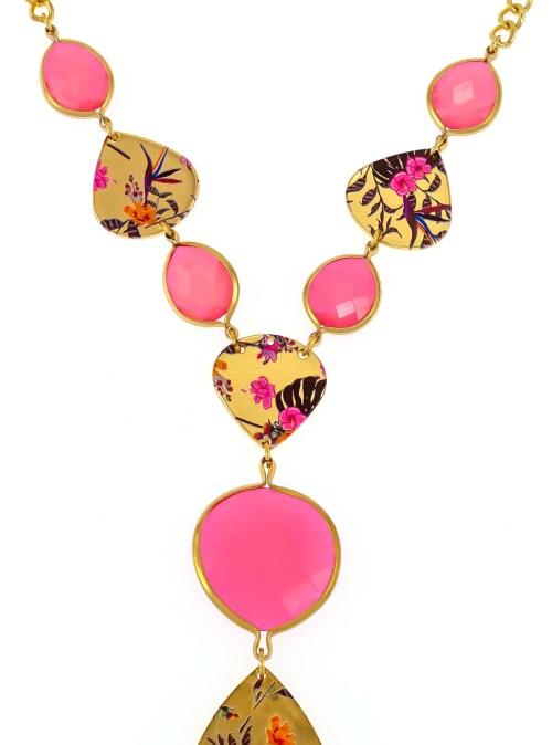 Carol Dauplaise Multi Pink Y Necklace - Back