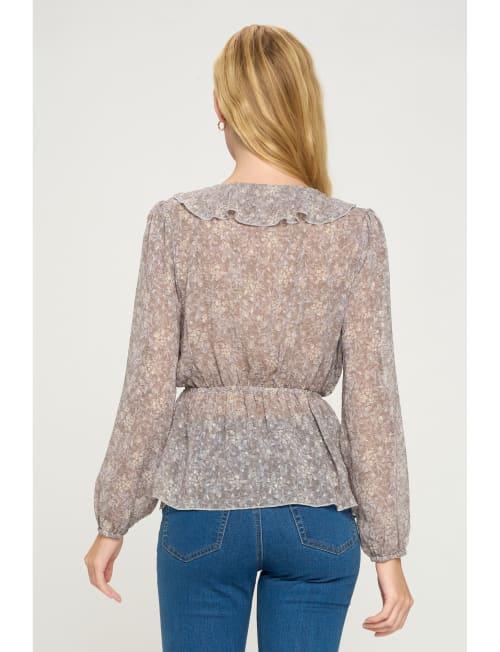 Ruffle V Neck Long Sleeve Dot Floral Blouse Top - Back