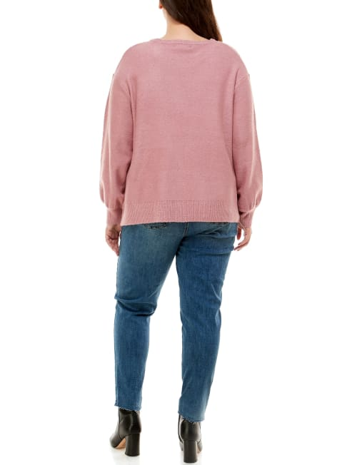 Adrienne Vittadini Long Sleeve Crew Neck Sweater -  Plus - Back