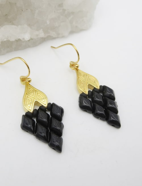 Jewels For Hope Black and Gold Handwoven Superduo Earrings - Back
