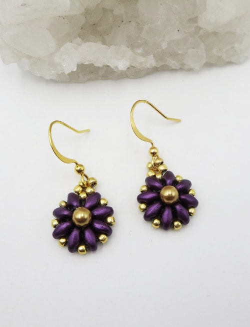 Jewels For Hope Purple and Gold Flower Earrings - Back