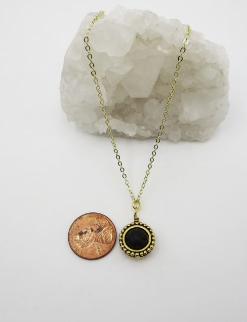 Jewels For Hope Black Lava Stone Diffuser Necklace - Back