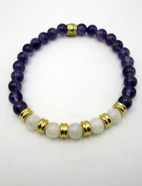 Jewels For Hope Amethyst and Moonstone Stretch Bracelet - Back