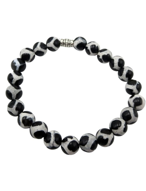 Jewels For Hope White And Black Agate Tibetan Style Stretch Bracelet - Back