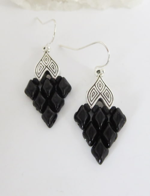 Jewels For Hope Black and Silver Woven Earrings - Back
