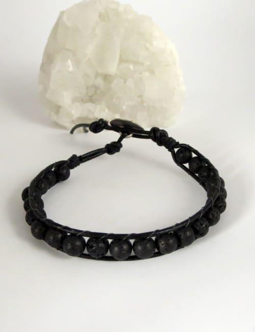 Jewels For Hope Black Lava Stone Wrap Bracelet - Back