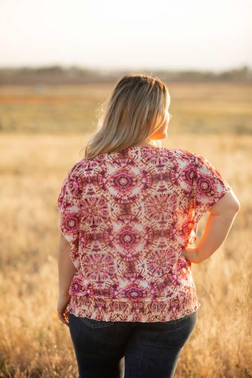 Roz & Ali Dolman Flutter Sleeve Blouse - Plus - Back