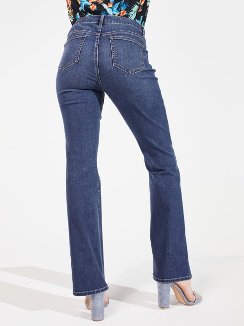 Westport Signature Five Pocket Bootcut Denim Jean Pants - Petite - Back