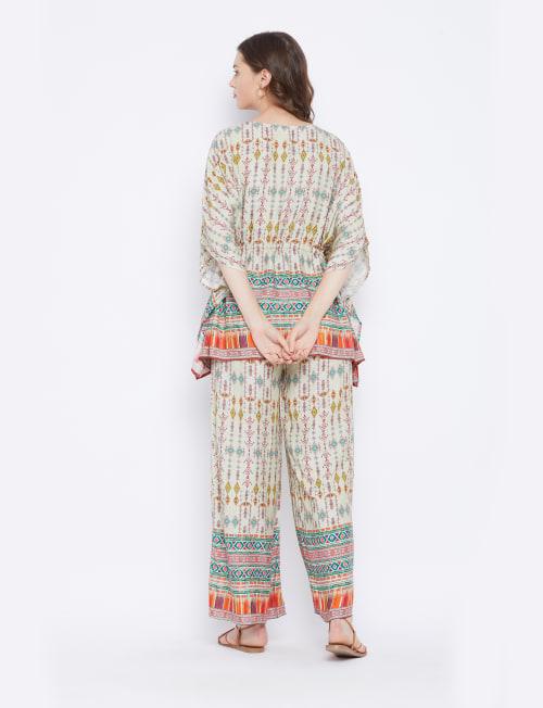 2-Piece Top Rayon Co-Ord Sets V-Neck Pajama - Plus - Back