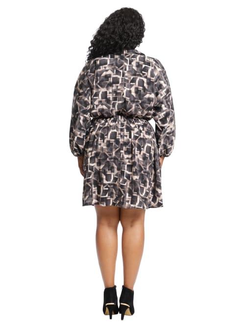 Airbrush Blocks Relaxed Shirt Dress - Plus - Back