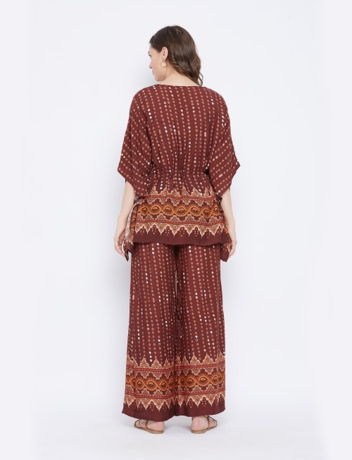 2-Piece Top and Bottom Rayon Co-Ord Multi Color Pajama Set - Plus - Back