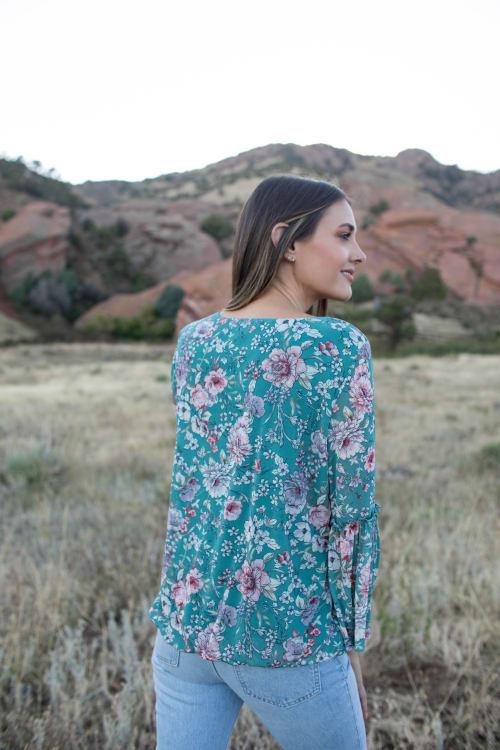 Roz & Ali Flare Sleeve Floral Bubble Hem Blouse - Back