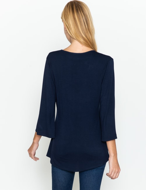 Westport V-Neck Crochet Lace Up Knit Top - Back