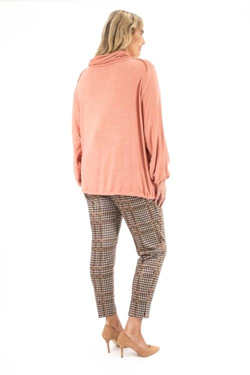Zac & Rachel Long Sleeve Funnel Neck Cozy Knit Top - Plus - Back