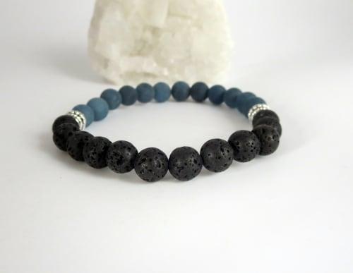 Jewels For Hope Black Lava Stone and Jade Stretch Bracelet - Back
