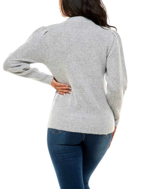 Adrienne Vittadini Sweater With Chain Pullover - Back
