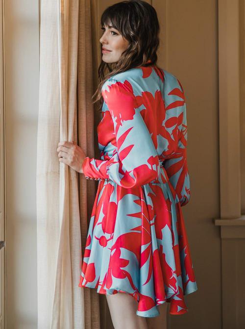 Sukiso Women's Coral Wave Elsa Dress - Back
