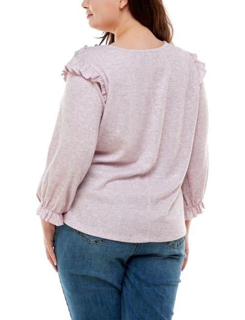 Adrienne Vittadini Ruffle Sleeve Hacci Top - Plus - Back